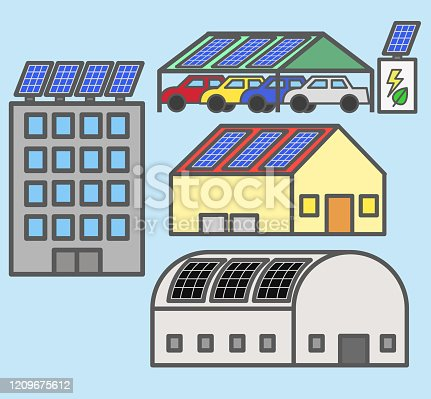 istock Minimal 2d colored solar panel rooftop installation on building house factory and car parking 1209675612