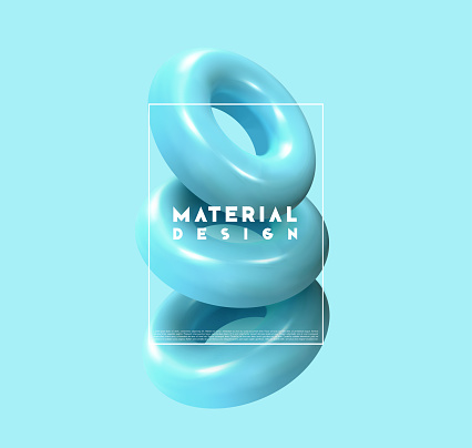 Minimal abstract art with geometric shapes, stylish background with 3d elements blue torus.