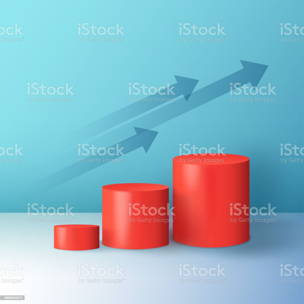 Minimal abstract colorful cylinder shape, wall scene. Platform, podium to advertise various objects, arrows as a symbol of sales growth and success. Vector vector art illustration