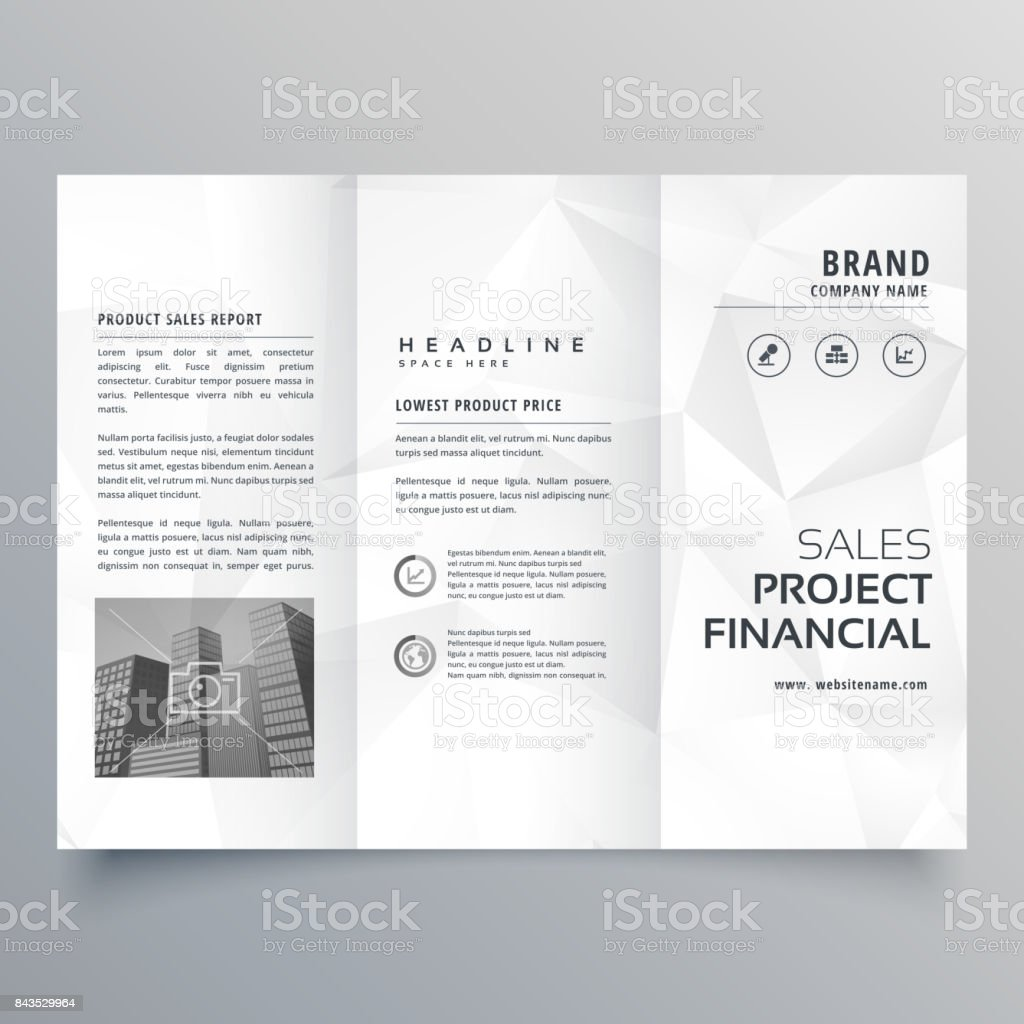 minimal abstract gray polygon shapes trifold brochure template vector art illustration