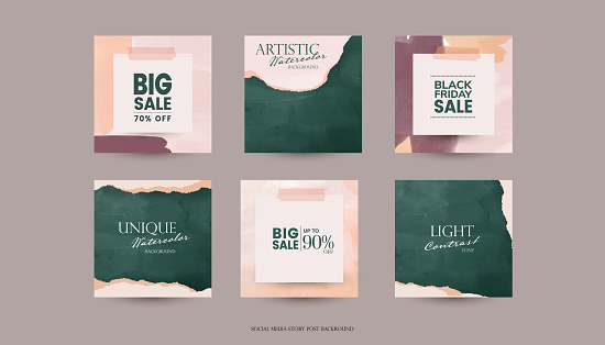minimal abstract Instagram social media story post banner template. ripped torn paper texture background in green nude color. luxury elegant mock up for beauty, wedding, summer, autumn, fall, fashion