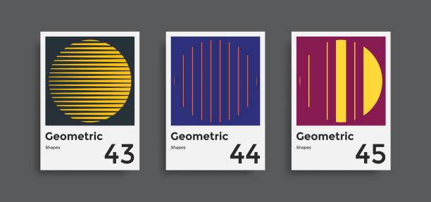 minimale abstrakte poster set - bauhaus stock-grafiken, -clipart, -cartoons und -symbole
