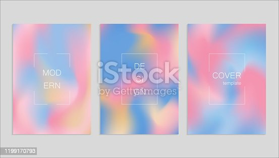 Minimal abstract vector fuid cover design template. Holography gradient background. Vector templates for placards, banners, flyers, presentations and reports