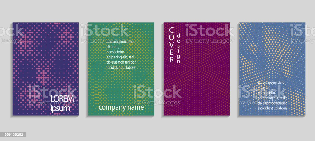 Minimal abstract vector halftone cover design template. Future geometric gradient background. Vector templates for placards, banners, flyers, presentations and reports - arte vettoriale royalty-free di Affari