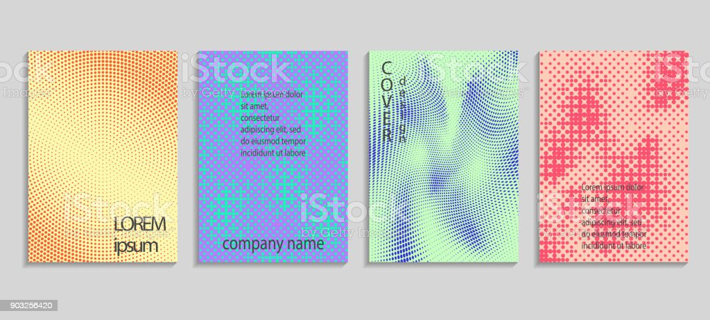 Minimal abstract vector halftone covers design. Future geometric template. Vector templates for placards, banners, flyers, presentations and reports vector art illustration