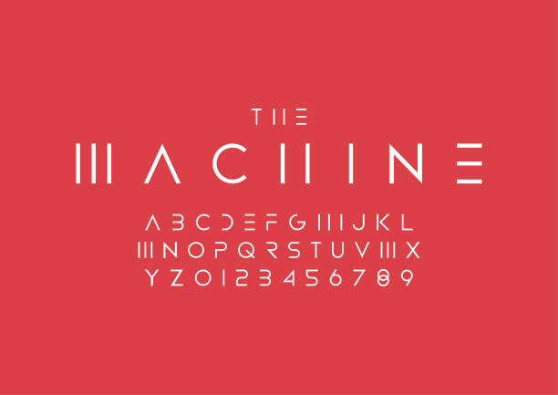 Minimal alphabet Vector of abstract minimal font and alphabet alphabet designs stock illustrations