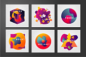 Minimal backgrounds set. Abstract 3d future forms with vibrant gradients. Color fluid particle