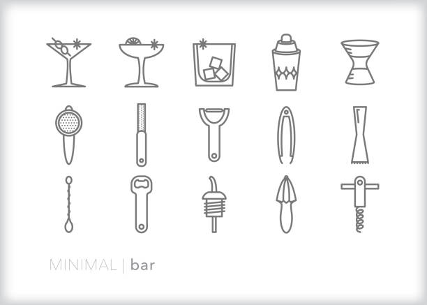 minimal bar and bartending line icons for a restaurant or home bar to make hand crafted cocktails - bartender stock illustrations