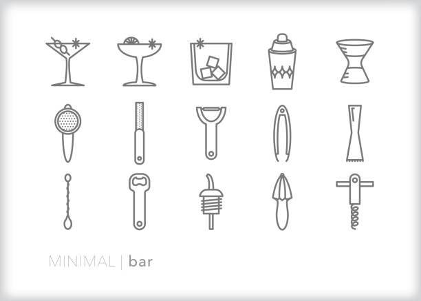 레스토랑 또는 홈 바의 미니 멀 바 및 바르 텐 돌 라인 아이콘은 손으로 만든 칵테일을 만들 수 있습니다 - bartender stock illustrations
