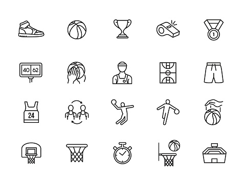 minimal basketball line icon set
