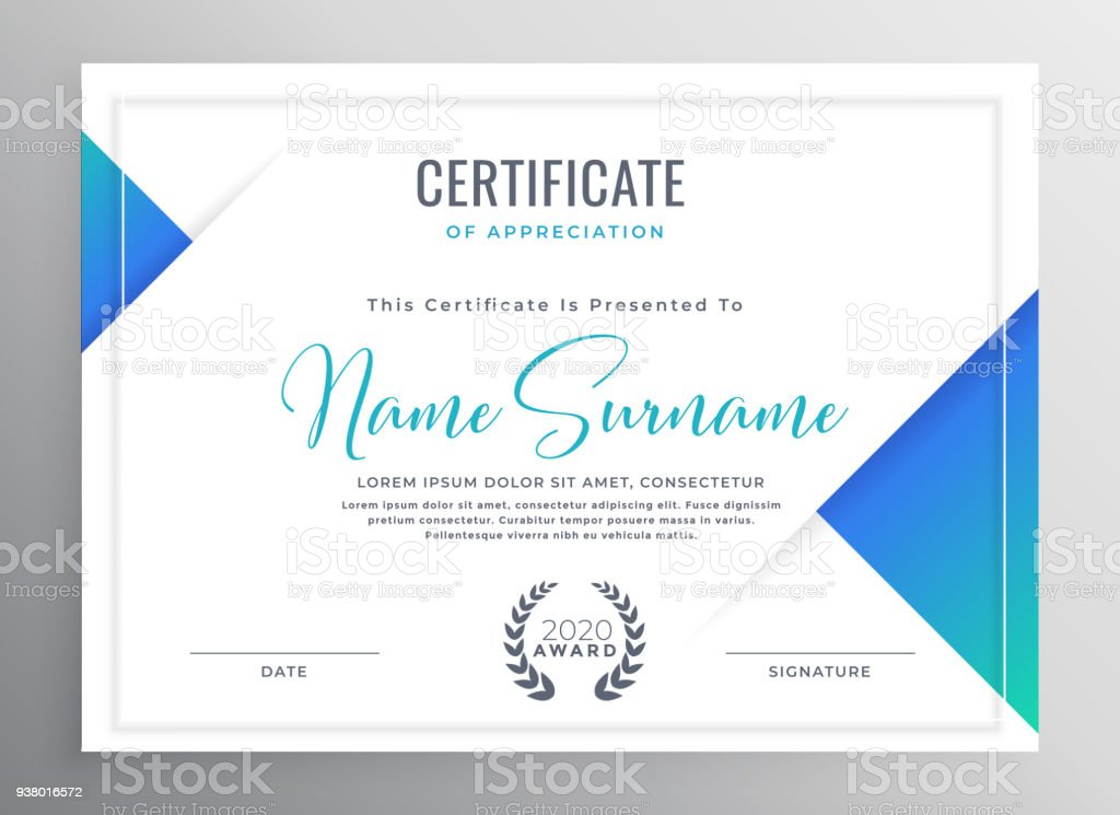 minimal blue triangle certificate template design векторная иллюстрация