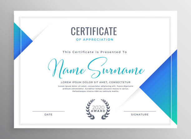 illustrazioni stock, clip art, cartoni animati e icone di tendenza di minimal blue triangle certificate template design - attestato