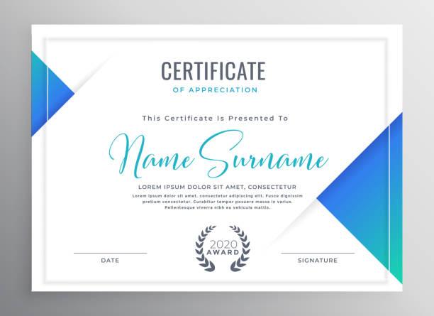 stockillustraties, clipart, cartoons en iconen met minimale blauwe driehoek certificaat sjabloonontwerp - certificaat