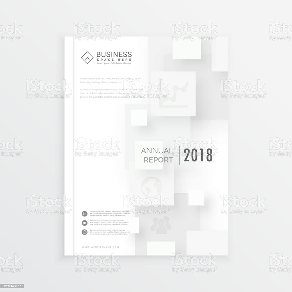 minimal brochure design annual report cover with white 3d squar