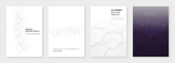Minimal brochure Minimal brochure templates. Big data visualization with lines and dots. Technology sci-fi concept, abstract vector design. Templates for flyer, leaflet, brochure, report, presentation, advertising. Big data visualization. - illustrazione arte vettoriale