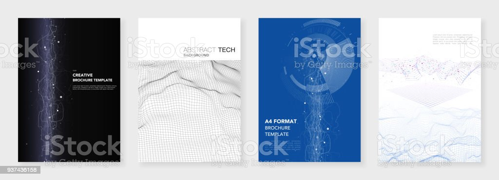 Minimal Brochure Templates Big Data Visualization With Lines And