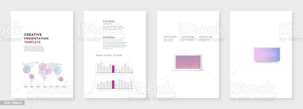 Minimal Brochure Templates Infographic Elements On White Background