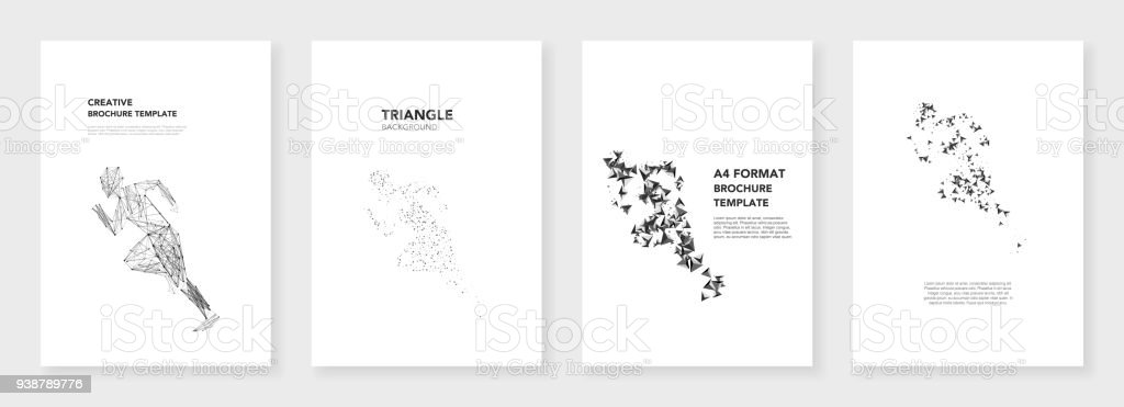 minimal brochure templates triangle elements on white background