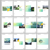 Minimal brochure templates with colorful gradient rectangles and square shapes on white background. Covers design templates for flyer, leaflet, brochure, report, presentation, advertising, magazine