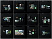 Minimal brochure templates with green color rectangles, rectangular shapes. Covers design templates for square flyer, leaflet, brochure, report, presentation, blog, advertising, magazine for blogging