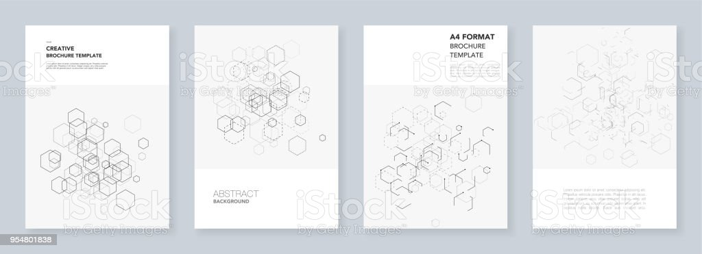 Minimal brochure templates with hexagons and lines on white. Hexagon infographic. Digital technology, science or medical concept.Templates for flyer, leaflet, brochure, report, presentation. - illustrazione arte vettoriale