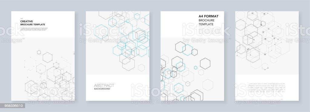Minimale Broschüre Vorlagen Mit Sechsecken Und Linien Auf Weiß ...