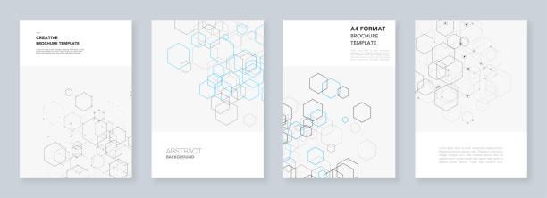 六角形と白のラインで最小限のパンフレットのテンプレート。六角形のインフォ グラフィック。デジタル技術、科学または医学的概念。フライヤー、リーフレット、パンフレット、報告書、プレゼンテーション用のテンプレート。 - 健康のインフォグラフィック点のイラスト素材/クリップアート素材/マンガ素材/アイコン素材
