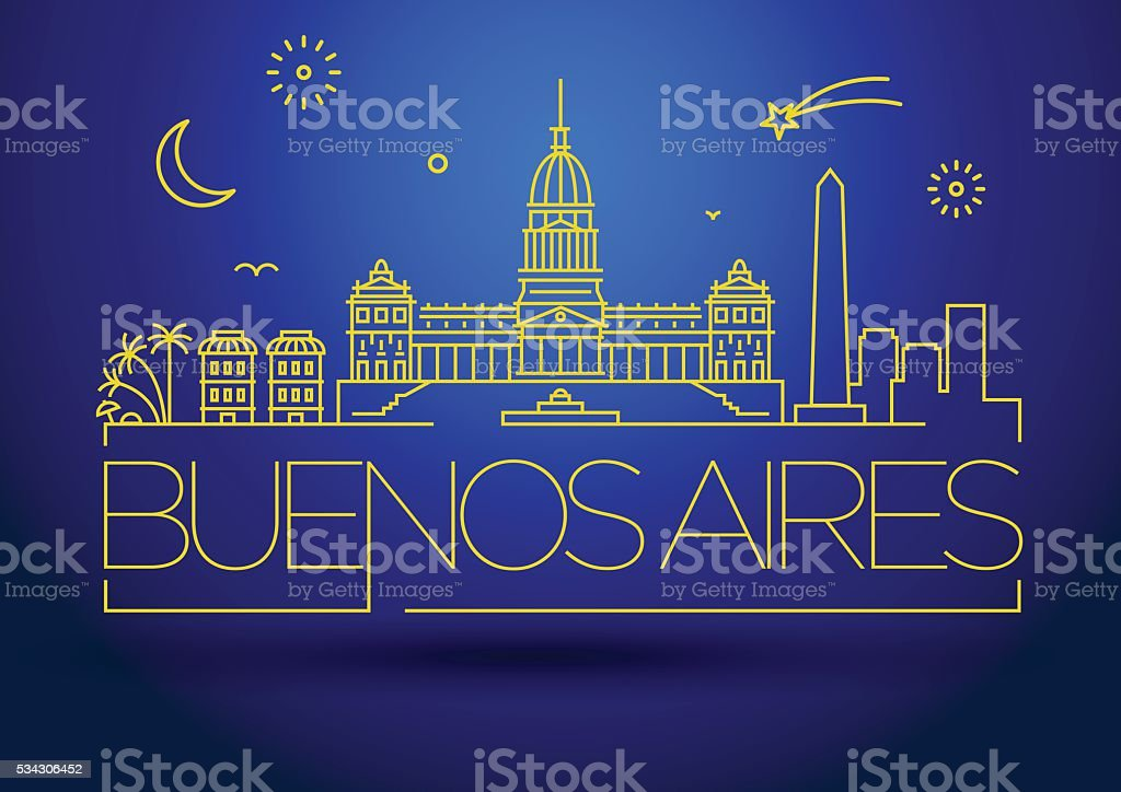Minimal Buenos Aires City Linear Skyline with Typographic Design vector art illustration
