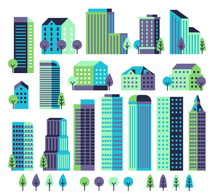 Minimal buildings. Buildings and skyscrapers, commercial offices for modern architectural landscape with trees. City vector constructor