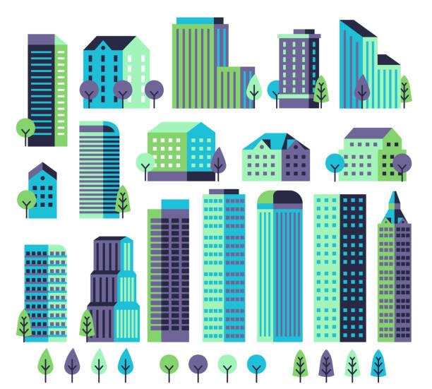 stockillustraties, clipart, cartoons en iconen met minimale gebouwen. gebouwen en wolkenkrabbers, commerciële kantoren voor het moderne architectonische landschap met bomen. city vector constructor - gebouw exterieur