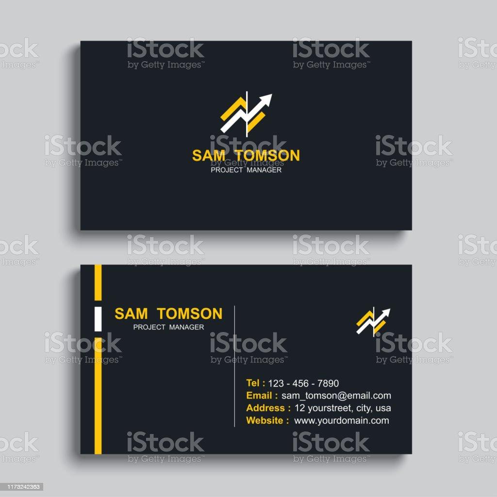 Minimale Visitenkarte Druckvorlage Design Schwarze Farbe Und