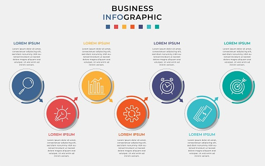 Minimal Business Infographics template. Timeline with 7 steps, options and marketing icons .Vector linear infographic with two circle conected elements. Can be use for presentation.