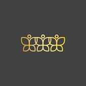 Three gradient minimal butterfly icon, beauty salon, studio, spa, plastic surgery sign. Vector illustration isolated