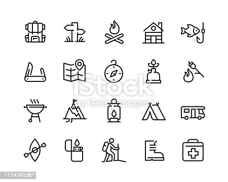 20  camping related icons design