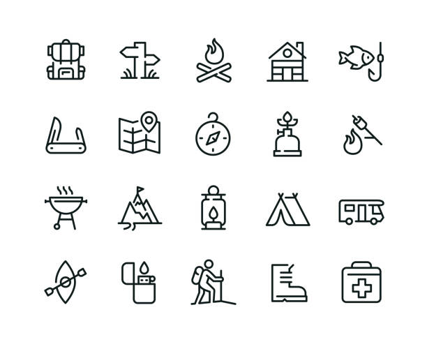 Minimal camping icon set - Editable stroke 20  camping related icons design hiking stock illustrations