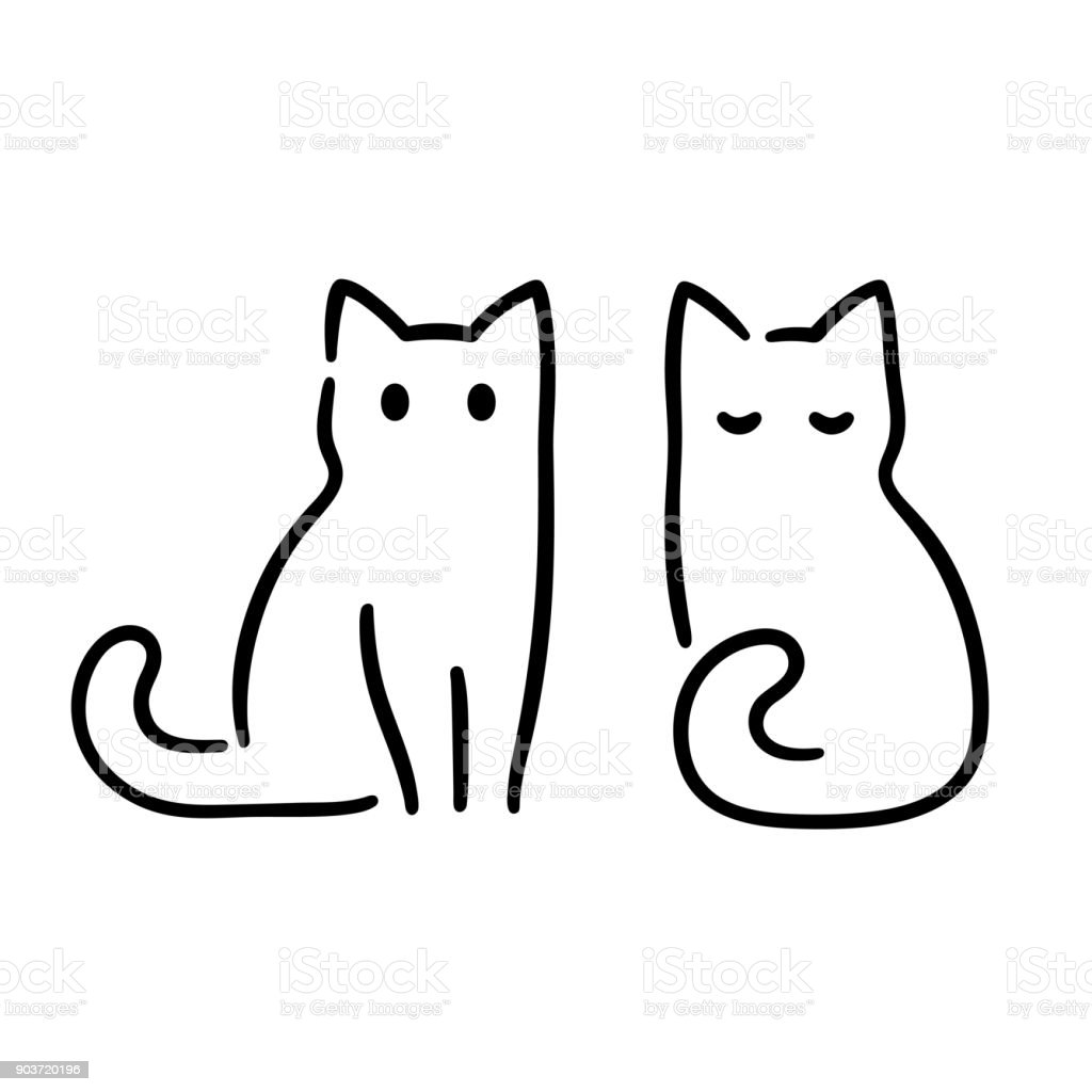 Minimal Cat Drawing Stock Illustration Download Image Now Istock