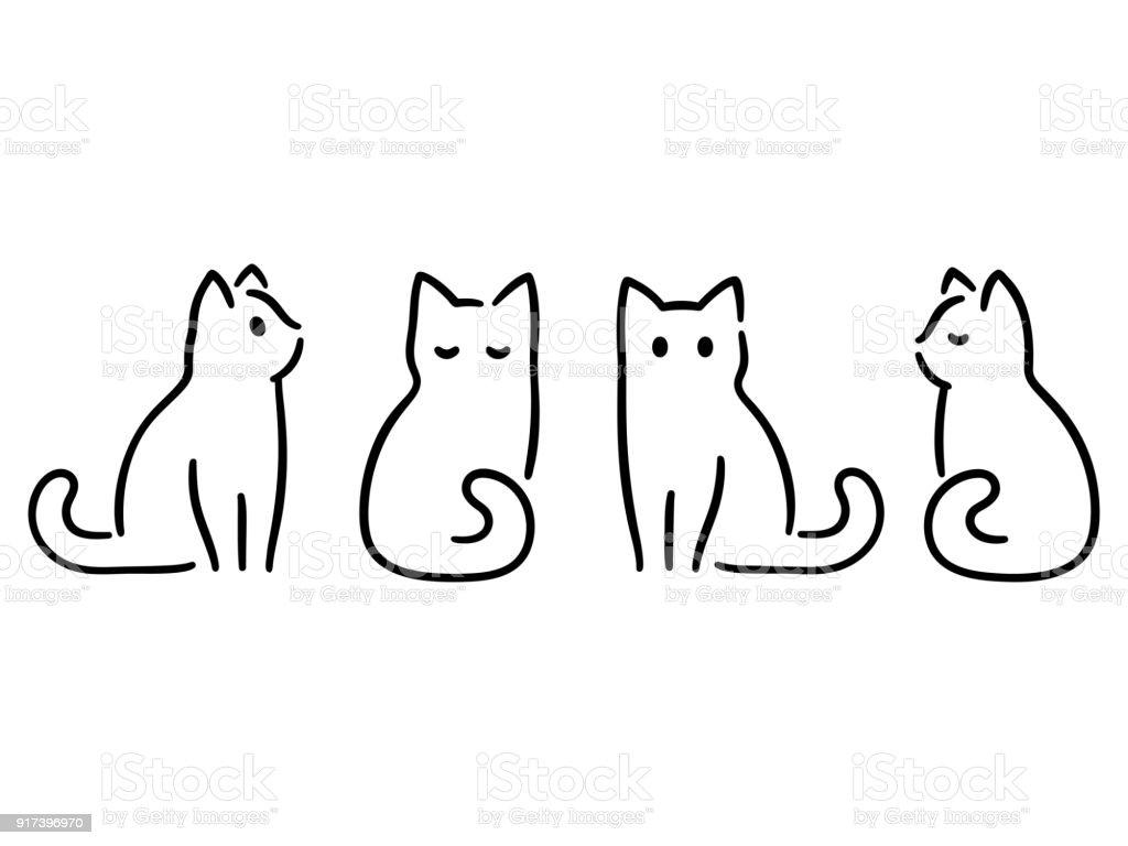 Minimale Katze Zeichnen Stock Vektor Art Und Mehr Bilder Von