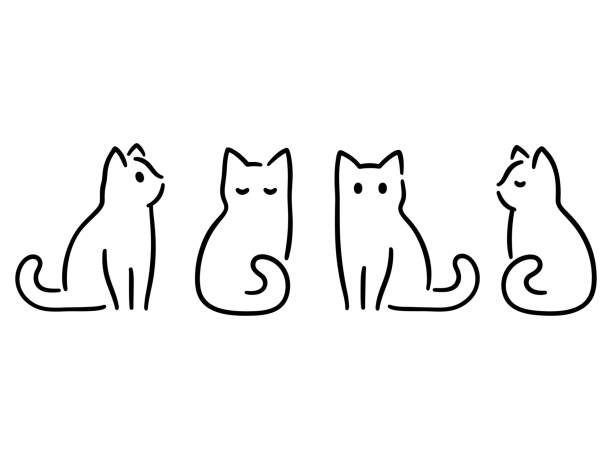 minimal cat drawing - cat stock illustrations, clip art, cartoons, & icons