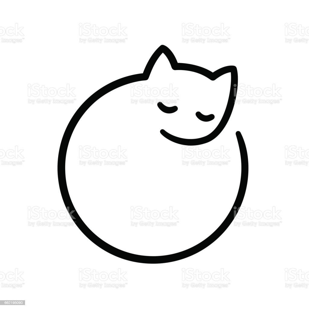 最小限の黒猫のロゴ ベクターアートイラスト