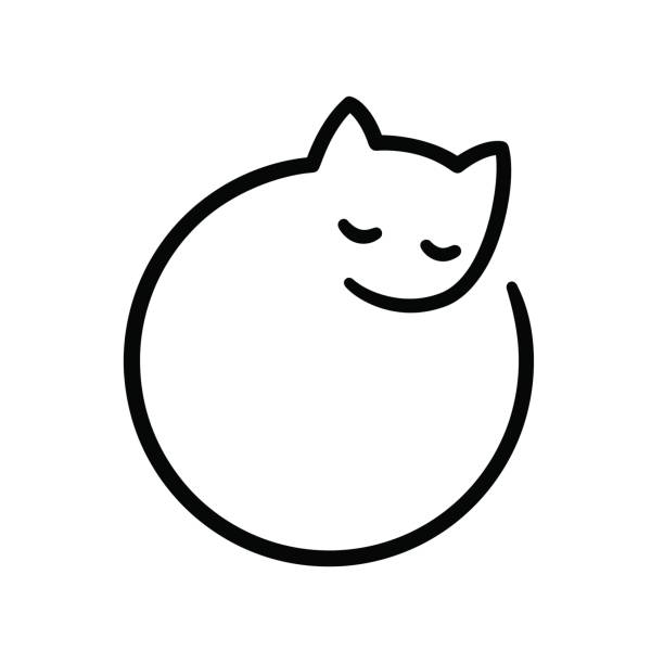 Minimal cat logo vector art illustration