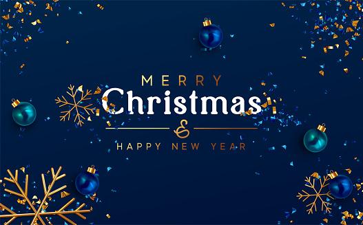 Minimal Christmas Background. Festive design of sparkling lights blue garland, realistic balls baubles, 3d render gold snowflake. Xmas horizontal poster, banner, greeting cards, header website.