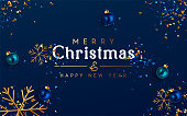 istock Minimal Christmas Background. Festive design of sparkling lights blue garland, realistic balls baubles, 3d render gold snowflake. Xmas horizontal poster, banner, greeting cards, header website. 1287941284