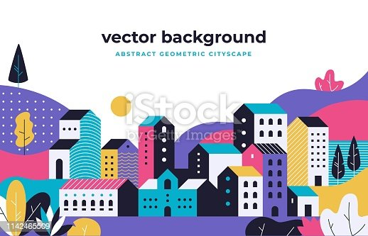 Minimal cityscape. Flat geometric background with buildings leaves treas and fields, nature environment vector landscape. Urban town street park with tree and buildings in purple tones