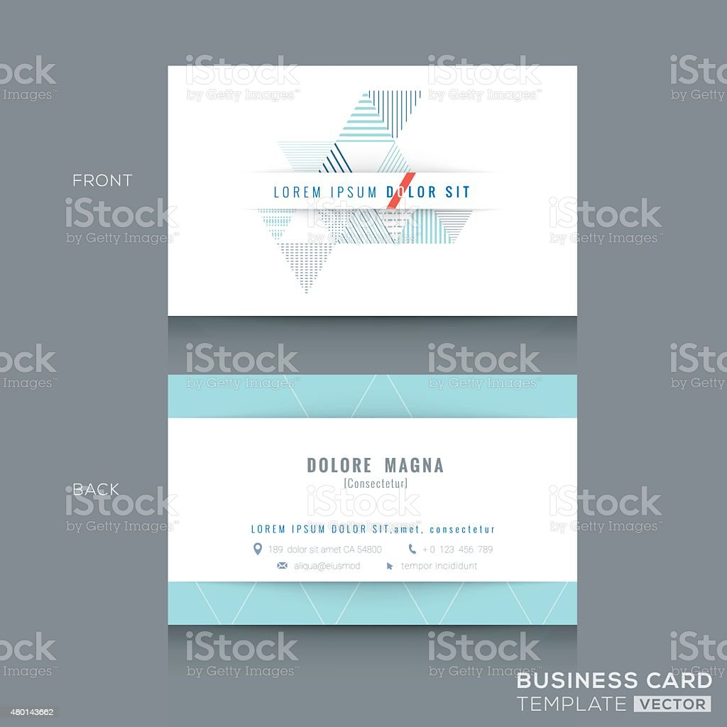 Minimal clean triangle design business card Template vector art illustration