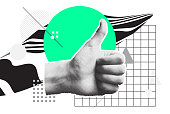 Minimal Clip Art Collage. Pop Vector Design Composition with bright bold geometric shapes, halftone objects for ad, animation etc