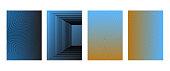 Minimal covers design, halftone gradients, geometric patterns