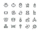 20 baby line icons design