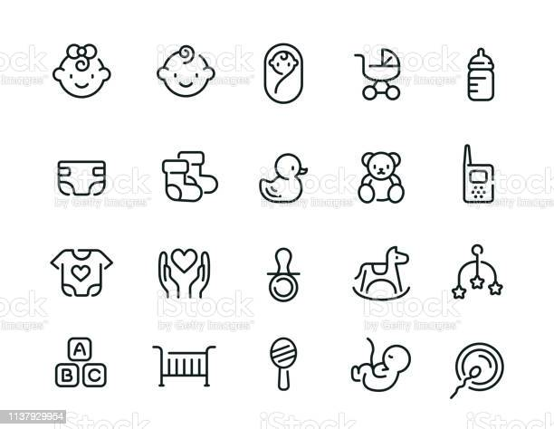Minimal Cute Baby Icon Set Stock Illustration - Download Image Now