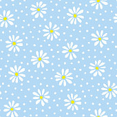 Minimal cute hand-painted daisies and polka dots on sky blue background vector seamless patters. Spring summer graphic print. Perfect for textiles, stationery
