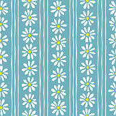 Minimal cute hand-painted daisies and stripes on teal background vector seamless patters. Spring summer graphic print. Perfect for textiles, stationery
